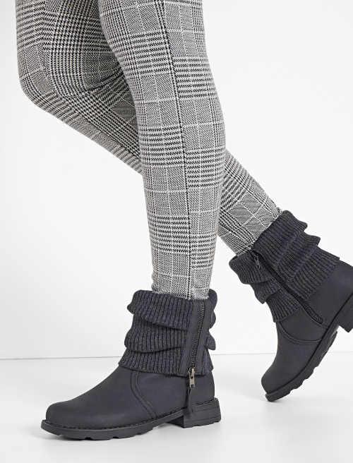 Antracytowe buty zimowe damskie z dzianinową wstawką