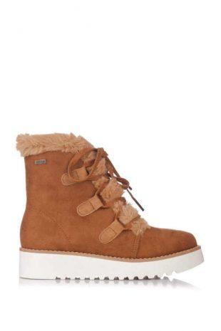Brązowe buty zimowe damskie na niższym klinie
