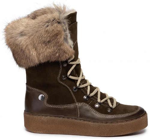 Brązowe buty zimowe damskie ozdobione naturalnym futrem z królika