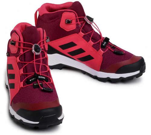 Buty outdoorowe damskie bordowe Adidas jesień zima
