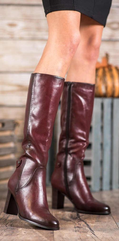 Buty zimowe damskie bordowe wyprzedaż