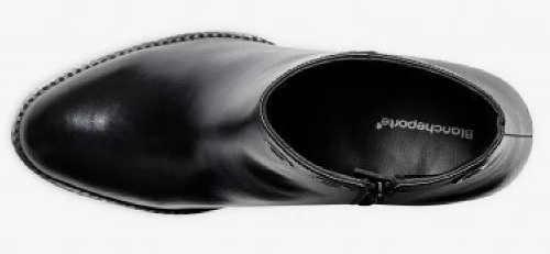 Czarne damskie skórzane buty za kostkę Blancheporte