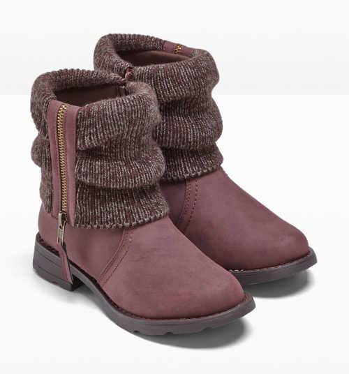 Damskie bordowe buty zimowe