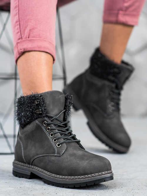 Damskie modne buty trapery w kolorze szarym