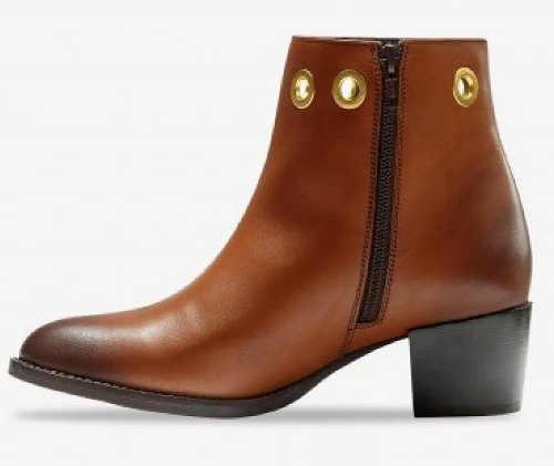 Damskie zimowe buty za kostkę brązowa skóra