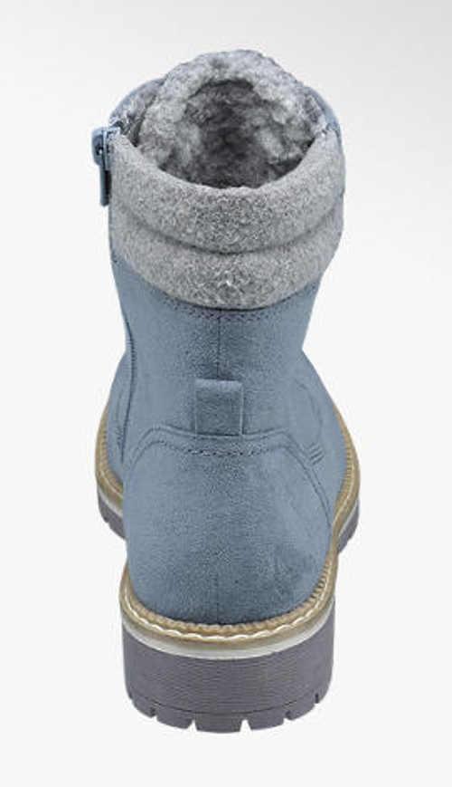 Damskie zimowe buty za kostkę denim look