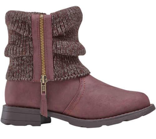 Damskie zimowe buty za kostkę z dzianinową wstawką z zamkiem błyskawicznym