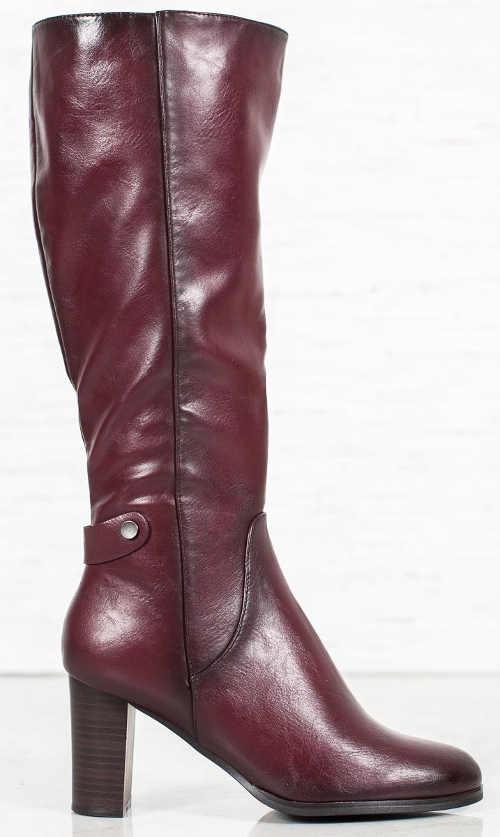 Fioletowe damskie buty zimowe na wysokim obcasie