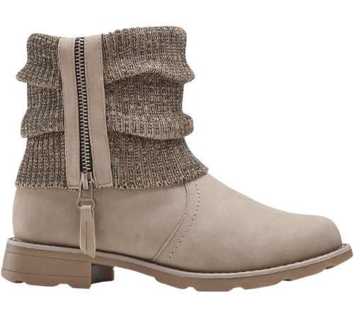 Jasnobrązowe damskie zimowe buty za kostkę z dzianinową wstawką