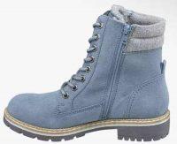 Jasnoniebieskie damskie zimowe buty za kostkę z wiązaniem i zamkiem błyskawicznym