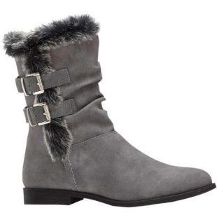 Niskie szare damskie buty zimowe z ciepłą podszewką