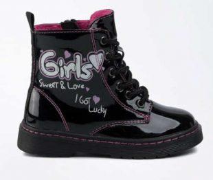 Piękne błyszczące czarne buty zimowe Nelli Blu