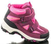 Różowo-fioletowe dziecięce buty zimowe z dwoma paskami zapinanymi na rzepy