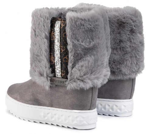 Szare buty zimowe damskie Guess z futerkiem
