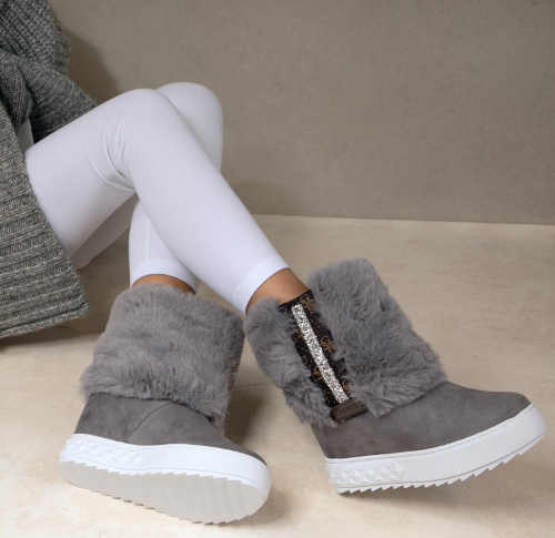 Szaro-białe, nowoczesne, designerskie buty zimowe damskie