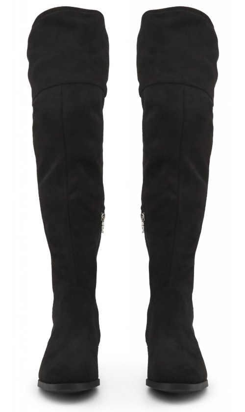 Wysokie buty zimowe damskie Czarne botki