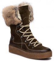 Wyższe buty zimowe damskie wykonane z naturalnej skóry POLLONUS