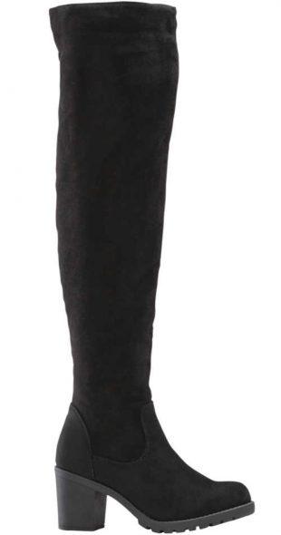 Czarne wysokie kozaki damskie nad kolano Bonprix