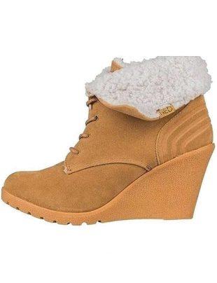 Damskie zimowe buty klinowe z futerkiem