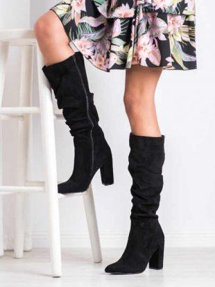 Damskie wysokie buty slip-on w kolorze czarnym