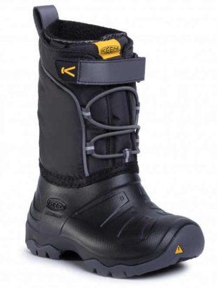 Czarno-szare chłopięce zimowe buty śniegowe na rzepy