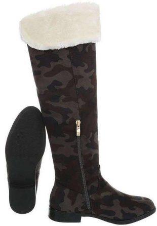 Damskie buty zimowe w kamuflażu